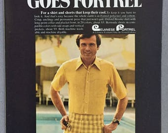 1970 Fiber Industries Inc 4-page Print Ad for Celanese Fortrel Fabrics used in McGregor - Lido - Eagle Clothing - 1970's Men's Fashions
