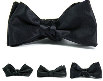 Black silk satin bow tie, sateen self-tie formal bowtie, slim cut, diamond tip
