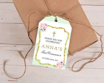 Mint & Gold First Communion Favor Tags, First Holy Communion Favor Tags, Baptism Favor Tags, Personalized Favor Tags, Christening, Printable