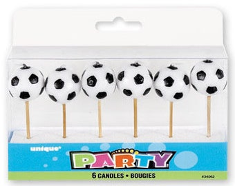 Soccer Ball Pick Cake Candle Set 6ct