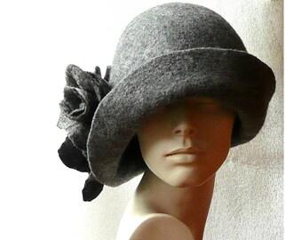 SALE-15% Gray Felted hat felt hats Women's  hat Cloche Hats felted hats 1920s hat Retro hat Grey Hat Victorian 1920's  roses felt hats