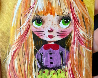 Aceo original acrylic painting mini art girl painting