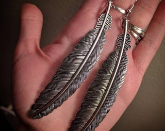 Extra Large Dangle Metal Silver Colored Feather Earrings