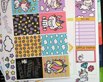 Kawaii Unicorn Weekly Planner Kit!  Available for Erin Condren Life Planner or MAMBI/Happy Planner