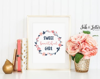 Navy and Pink Nursery - Girl Nursery Art - Sweet Beautiful Girl - Navy and Blush - Nursery Decor - Instant Download - Digital Print - 8x10