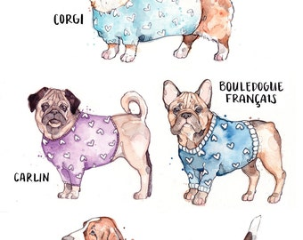 Large Print of Dogs with Sweater | Watercolor | Drawing | Animal | Marie-Eve Arpin | Dog | Art | Cute | Deco | Dog Art | Print |  Affiche