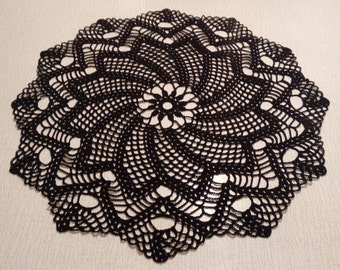 Crochet doily -  Round doilies - Large doily - Black - Home decor -  crochet doilies - Mother's Day - Handmade - Handmade tablecloth
