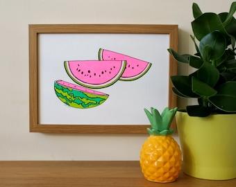 Watermelon Print, Screenprint, Fruit, Tropical, A4 Screenprint, Home Decor, Fun Print, Kitchen Art, Silkscreen, Colourful Print