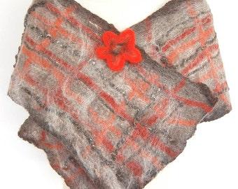 Outlander Shawl Plaid Wool Scarf Brown Orange Grey Nuno Felted Shawl Unique Handmade Wool Felted Wrap Flower Shawl Pin Nuno Felt Clothing