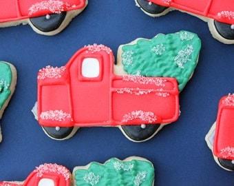 Christmas Tree Truck Sugar Cookies