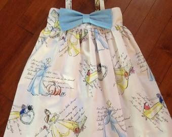 Disney Princess Themed Dress with Bow, Cinderella, Belle, Snow White