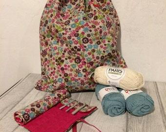 Drawstring knitting bag, wool storage bag, Mother's Day gift, craft lovers gift, crochet bag, drawstring floral bag, craft bag, gift for her