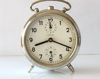 vintage alarm clock junghans antique german wind up desk clock collectible mechanical working metal clock industrial