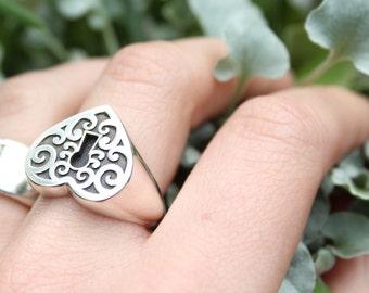 Heart Signet Ring, Silver Signet Ring
