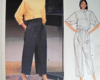 Misses Cropped Wrap Top, Ankle Pants, High Waist, Vogue 1382, Paris Original, Claude Montana Designer, Sewing Pattern, Size 14, Vintage 80s