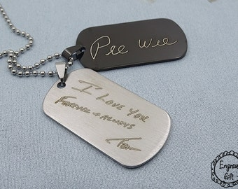 Memorial Personalized Custom Handwriting from hand script letter Engrave on Stainless Steel Dog Tag Necklace/Keyring