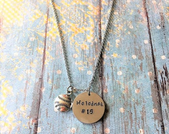 Personalized Baseball Necklace - Baseball Jewelry - Sports Jewelry - Baseball Necklace - Baseball Mom - Sports Mom - Baseball