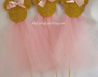 3 Minnie Centerpieces/Minnie Centerpiece Stick/Pink and Gold Minnie Centerpiece/Minnie Centerpiece/Minnie Tutu Centerpiece/Pink Gold Minnie
