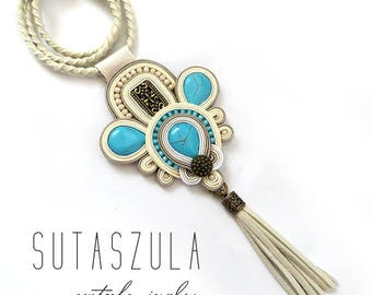 Tassel beige cream turquoise necklace soutache colorful OOAK statement necklace Soutache stone pendant gift for her