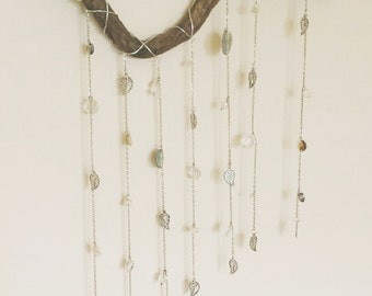 Boho mobile mother of pearl leaves gypsy dream sun catcher window hanging wall decor boho shabby gypsy nature gem stones rustic driftwood