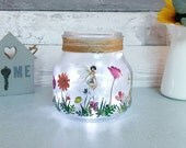 Fairy Jar, Girls Night light, Childs room Lighting, Kids Room Decor, Faeries Garden, Large Flower Jar, Little Faries Decor, New Baby gifts