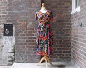 Vintage 1990s Floral Dress  Grunge Floral Dress