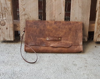Brown Leather Clutch - Women's Clutch Purse - Handmade - Ready To Ship - Colorado - Horween Leather - Women's Leather Wallet - OOAK