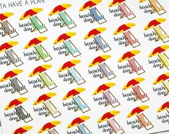 Planner Stickers Beach Day for Erin Condren, Happy Planner, Filofax, Scrapbooking