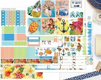 Planner Stickers Aloha Weekly Kit for Erin Condren, Happy Planner, Filofax, Scrapbooking