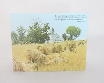 Vintage Church & Wheat Field Religious Greeting Card