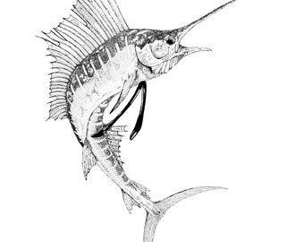 Sailfish Print from an Original Pen & Ink Drawing
