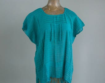 Hand Woven Vintage Mexican Huipil Blouse in Teal Natural Dye
