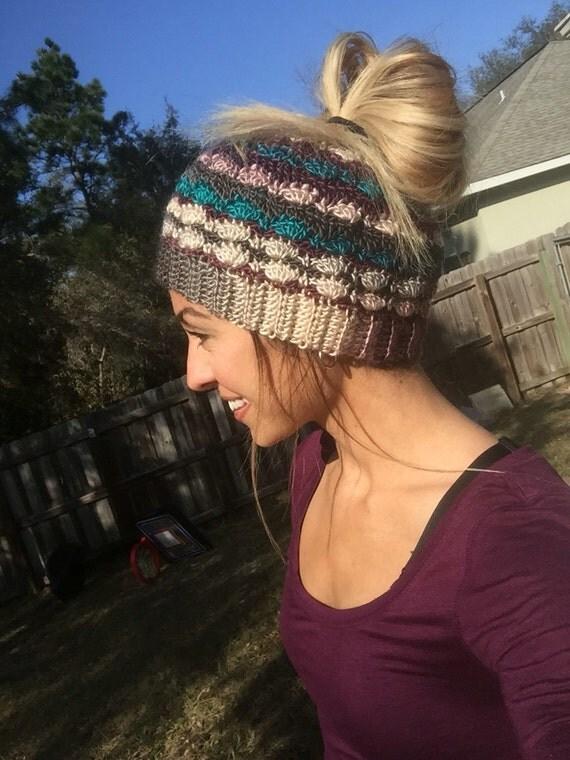 Messy Bun Beanie/ Pony Tail Hat/ Mom Life Beanie/ Messy Bun Hat/ Adult Ear Warmer Hat/ Mom Life Hat/ Crochet Beanie/ Mom Bun
