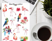 Watercolour Tropical Flamingos Planner Stickers (S-187)