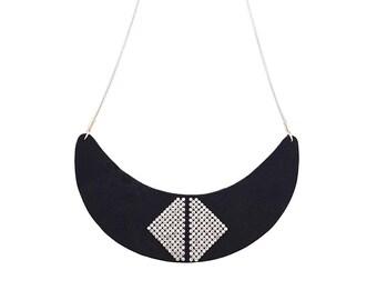 Moon shaped bib necklace - black suede and diamanté