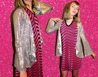 Vintage Silver Sequin Jacket, Sequin Cardigan, Sparkly Sweater, Bell Sleeved Jacket ,Silver Sequin Sweater, Silver Sequins,Disco Clothing