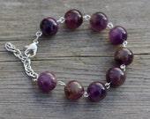 Amethyst Bracelet ~ Statement Bracelet ~ Semi Precious Stones ~ Purple Jewellery ~ Boho Style  ~ Bohemian Jewellery ~ Birthday Gift ~ OOAK