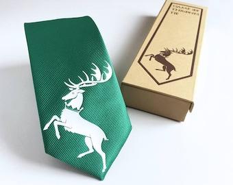 Game of Thrones Tie - Baratheon Deer Tie - Slim Tie - Wedding Tie, Christmas Gift, Fathers Day Gift, Birthday Gift- FREE UK Shipping!