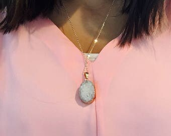 Druzy Stone Necklace, Large Druzy Necklace, Druzy Pendant Necklace, Stone Necklace, White Stone Necklace