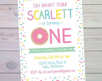 Donut Party Invitation | Donut Birthday Party | Donut Birthday Invitation | Donut Party Decorations | Donut Party Favors | The Party Darling