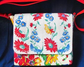 Messenger bag handmade from vintage linens