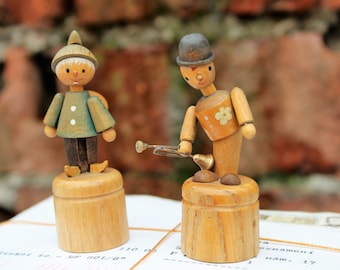 Push Puppets - Vintage Wooden Toys - Wooden Dolls - Push Button Puppets - Thumb Push Button Puppet Toys - Wooden Dancing Figurines