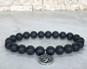 925 Sterling Silver OM Bracelet, Matte Onyx Bracelet, OHM Bracelet, Meditation Bracelet, BuddhaBracelet, Yoga Bracelet, Yoga Gifts, Yogi