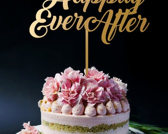 Happily Ever After Cake Topper, Wedding cake Topper, Gold Cake Topper, Anniversary Birthday Cake Topper A2080