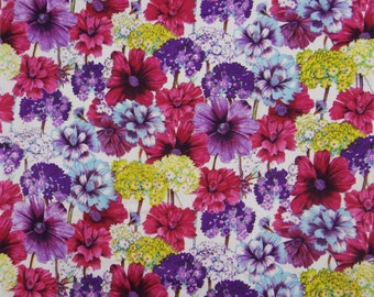 """Floral Print, Cotton Fabric, Dress Material, Home Accessories, Sewing Fabric, White Fabric, 44"""" Inch Designer Fabric By The Yard ZBC7056A"""