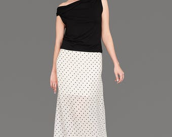 White Skirt, White Long Skirt, Polka Dot Skirt, Retro Skirt, White Maxi Skirt, Boho Skirt, Plus Size Skirt, High Wasted Skirt, Loose Skirt