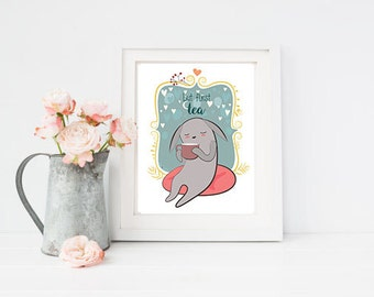 But first tea poster Tea Wall Art Print Tea Kitchen poster Tea Art Typography poster Tea Lover Home Decor Tea poster Cute Tea poster Tea art