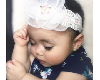 Chiffon flower headband, matching mommy baby,vintage lace headband, spring flower girl,christening headband, shabby chic, floral headband