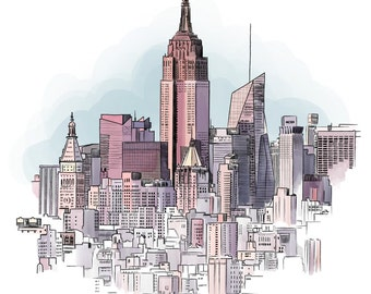 New York cityscape - High quality giclee print of original illustration