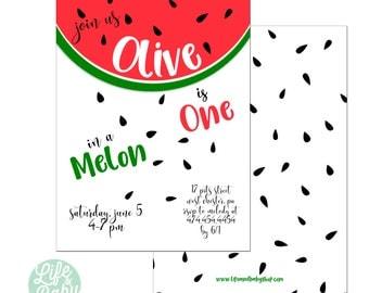 One In A Melon Invitation   Watermelon Invitation   Fruit Birthday Invitation - 5x7 with reverse side